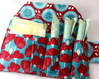 Privacy Pouch - Red Tampon Case - Sanitary Pad Case Pad Pouch Wallet Tampon Bag - Tampon Holder  Riley Blake Desert Bloom Poppy in Blue