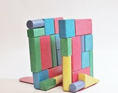 Vintage Bookends, Handmade Colorful Wooden Block Bookends, Child Nursery Decor