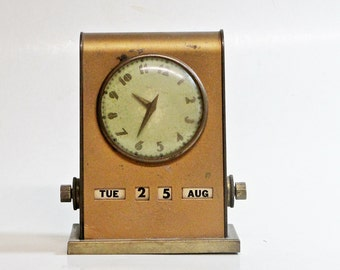 Vintage Clock With Manual Calendar, Art Deco Desk Secretary, Park Sherman 1940, Office Decor, Nonworking Clock For Display Or Repair
