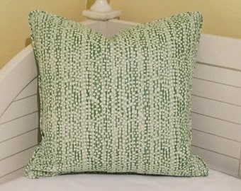 Quadrille China Seas Adam Campbell Mojave Soft Greens Designer Pillow Cover with Piping - Square and Lumbar Sizes