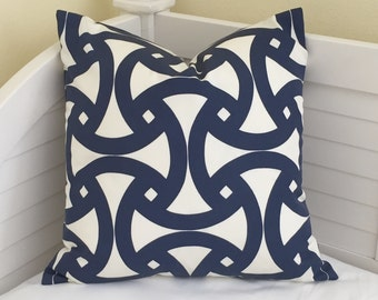 Trina Turk for Schumacher Santorini in Marine Blue (on Both Sides) Pillow Cover - Square, Euro and Lumbar Sizes