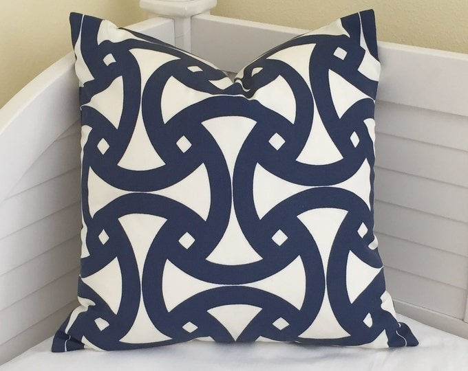 LABOR DAY SALE, Trina Turk for Schumacher Santorini in Marine Blue (on Both Sides) Lumbar Pillow Cover 14x24