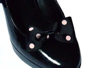 RESERVED. Black Bow Shoe Clips with Pink Polka Dots.
