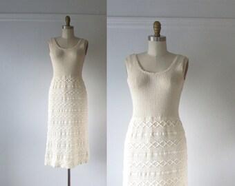 vintage 1960s dress / cream knit dress