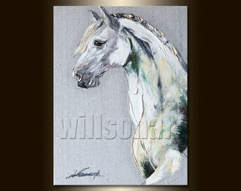 Original Horse Oil Painting Horse Head Portrait Textured Palette Knife Modern Animal Art 12X16 by Willson Lau