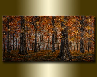 Original Autumn Landscape Painting Oil on Canvas Textured Palette Knife Modern Art Seasons 20X40