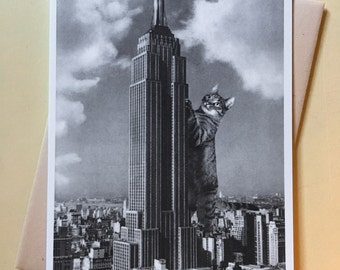 Cat Art, Empire State Building, Cat Art Print, Cat Card, Funny Cat Card, New York City, Alternate Histories, Geekery