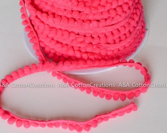 "Hot Pink Mini Pom Pom Fringe, 1/4"" Polyester Pom Poms, By the Yard, Choose the size"