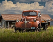 Red Dodge Truck with flatbed underneath a Cloudy Sky on the Prairie in Wyoming No.11812 A Fine Art Auto Landscape Photograph