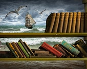 Voyage into the World of Library Books with a Schooner Ship amidst Flying Gulls No.171 A Fine Art Fantasy Surreal Photographic Composite