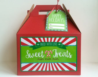 Christmas Gable Box - Christmas Gift Packaging - Sweet Treats Box - Gable Box Sticker - Christmas Cookie Box - Holiday Gift Box