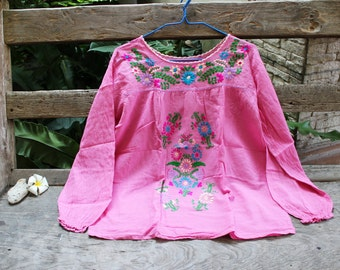 L-XL Long Sleeves Bohemian Embroidered Top - Pink