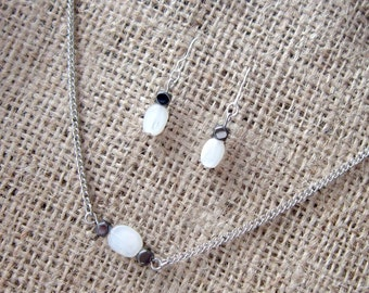 Moonstone and Haematite Silver Earring & Necklace Set