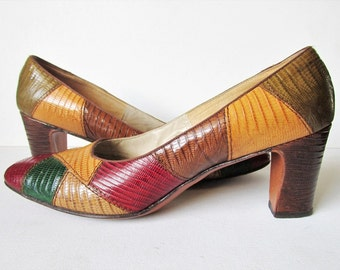 Vintage Patchwork Jewel Tone Snakeskin Squared Toe Heels from the 1960s in Size 6.5 B