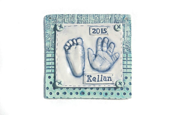 Personalized Ceramic Art with your Child's Hand Print and Foot Print,  Gift Idea for Mom and Dad - Baby Print Plaque