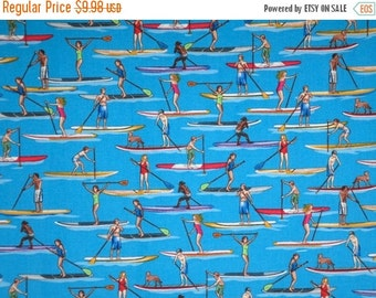 ON SALE Marine Blue Paddle Board Print Pure Cotton Fabric--One Yard