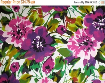 ON SALE Stunning Purple and Green Allover Floral Print Stretch Cotton Sateen Fabric--One Yard