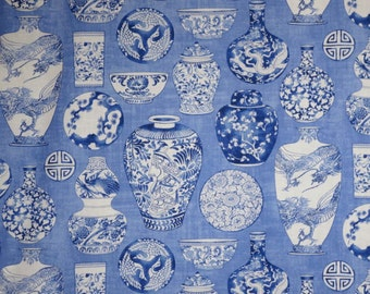 Blue on Blue Chinese Vases Print Pure Cotton Fabric--One Yard