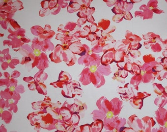REMNANT--Pink and White Scattered Floral Print Lightweight Stretch Cotton Sateen Fabric--1&1/8  Yard