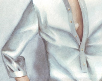 HM106 Original painting watercolor art Golden Heart Necklace by Helga McLeod
