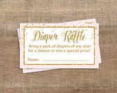 Printable Pink and Gold Glitter Confetti Diaper Raffle Tickets, Baby Girl, Bring a Pack of Diapers, Invite Insert, INSTANT DOWNLOAD