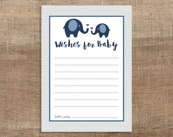 Navy Elephant Wishes For Baby Cards, Printable Navy and Grey Chevron Baby Boy Shower Activity, INSTANT PRINTABLE