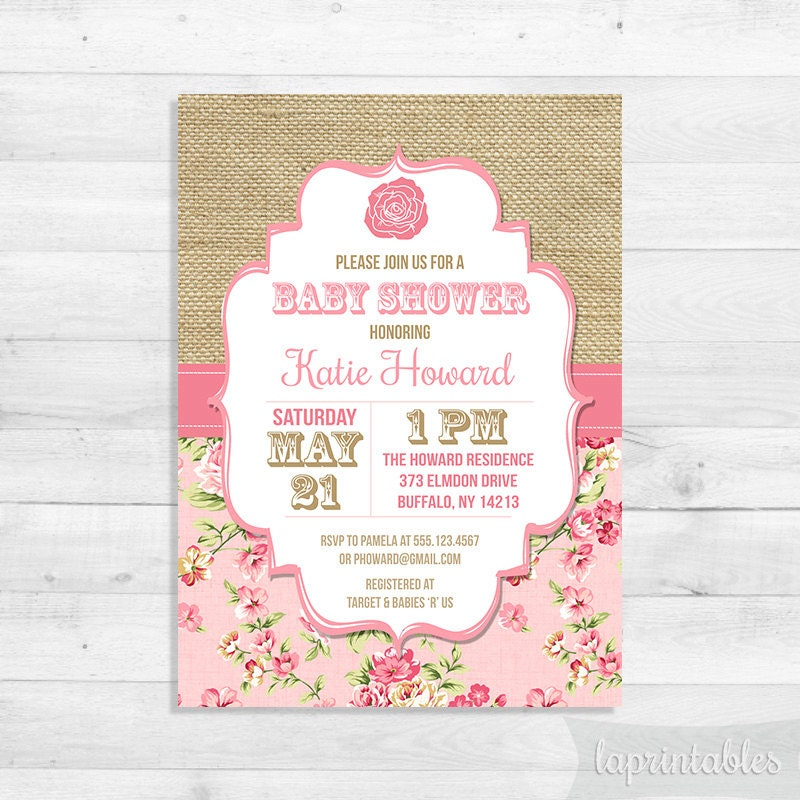 shabby chic baby shower invitation pink rose by laprintables