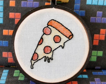 """Pizza is Life - Mini 3"""" Hand Embroidery"""
