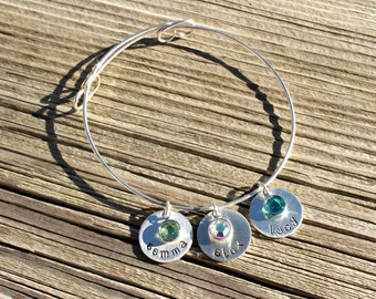Personalized Hand Stamped Sterling Silver Bangle with Swarovski Crystals - Gifts for her - Gifts for Mom - Mother's Day