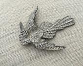 Vintage Art Deco Pot Metal Bird Brooch, antique bird brooch, estate sale find, rhinestone bird brooch