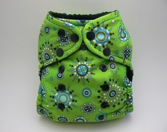 One Size Cloth Diaper - Green Circles PUL with Black Microfleece
