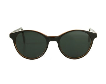 vintage black round sunglasses - 80s / 90s sunglasses for men and women - arizona black brown