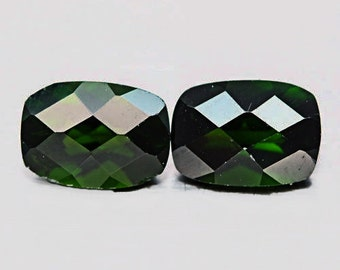 CHROME DIOPSIDE (25033) -  Pair (2 Gems) 7 x 5mm Green Russian Diopside - Faceted