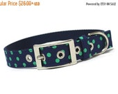 BIG Summer SALE Dog Collar with metal buckle- Prepster Navy and Green Dots
