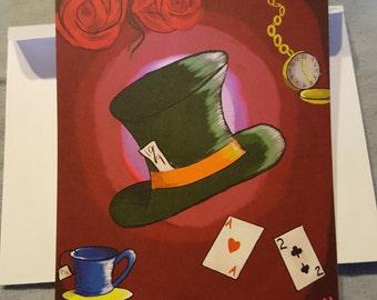 """Alice in Wonderland Art -- """"Wonderland"""" 5.5"""" x 4"""" note card, signed with envelope"""
