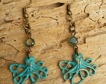 Dainty Patina Nautical  Octopus Sea Creature Earrings With Little Shimmery Gemstones