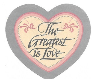 """Vintage 80's Sonrise Creations """"The Greatest Is Love"""" Heart Sticker"""