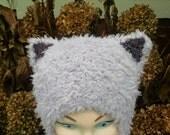 Grumpy Cat Hat Toddler Kitty Cat Ears Aviator Style Furry Gray Dark Brown