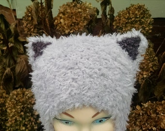 Grumpy Cat Hat Toddler Kitty Cat Ears Aviator Style Furry Gray Dark Brown