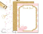Girls Baby Shower Thank You Cards, Tutu Baby Shower, Glitter Baby Shower, Ballerina Baby Shower, Tutu Thank You Card, Pink & Gold Baby,