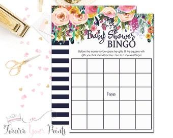 Baby Shower Bingo, Bingo Baby Shower Game, Baby Shower Games, Girls Baby Shower, Baby Bingo Game, Floral Baby Shower, Printable Bingo Card