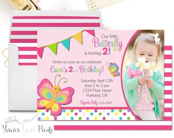 Butterfly Birthday Invitation, Girls Birthday Invitation, Butterfly Party Invite, Butterfly Invitation, Butterfly Invite, 1st Birthday