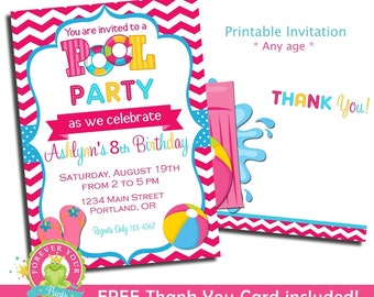 Pool Party Invitation / Pool Invitation / Birthday Invitation / Pool Party Invite / Kids Pool Party Invitation / Printable Pool Party