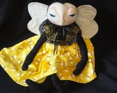Bumble bee Primitive art doll girl collectible black and yellow colors handmade doll
