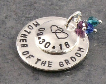 Mother of the Groom Charm - Hand Stamped with Double Heart  - Wedding Date -  Bridal Accessory - Great Gift for Grooms Mother
