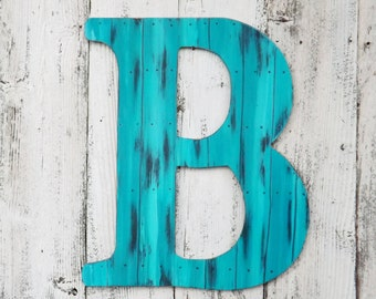 Large Letter B ~Your Choice Letter~Wood Wall Letter~ Turquoise Faux Wood Plank Finish~Letters A~Z