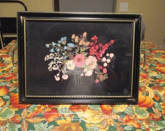 Gorgeous Vintage Frame Style Handled Tray with Dried Flower Arrangement Under Glass 1950's