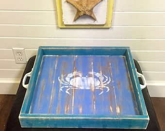 Ottoman Tray Large Blue Crab Serving Tray Beach House by CastawaysHall - Ready to Ship