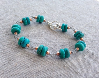 Turquoise, Copper, and Silver Link Bracelet
