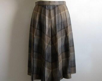 Vintage 1970s Glen Check Skirt 70s Brown Plaid Pleated Wool Blend Skirt Medium-Large